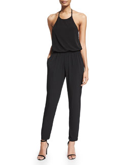 Halter Blouson Jersey Jumpsuit, Black