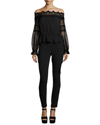 Off-the-Shoulder Lace-Trim Jumpsuit, Black