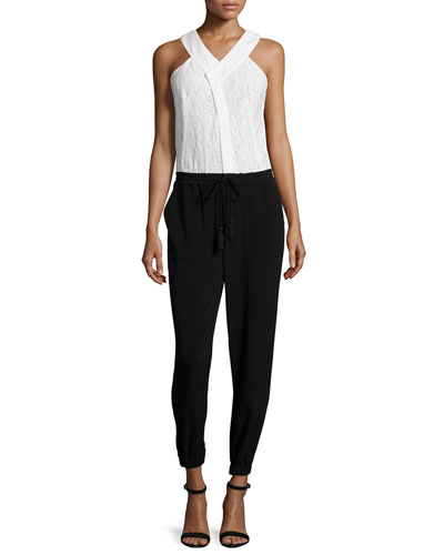 Lace Combo Jumpsuit, Black/Cream