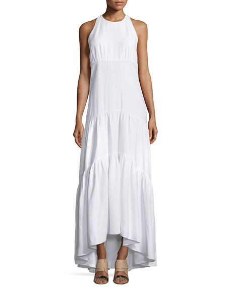 Talia Woven Racerback Maxi Dress, White