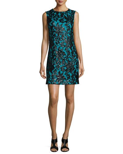 Sleeveless Floral Shift Dress, Black/Blue Lagoon