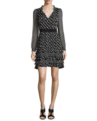 Fiona Daisy Buds Silk-Blend A-Line Dress, Black/White