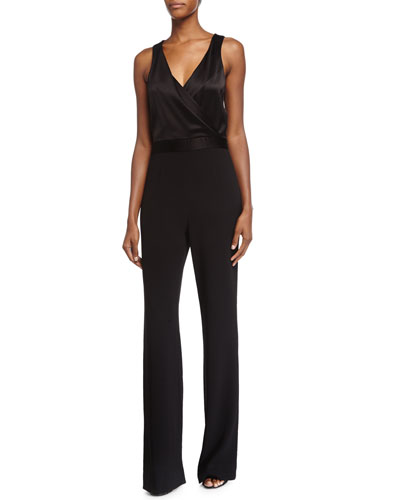 Layana Sleeveless Combo Jumpsuit, Black
