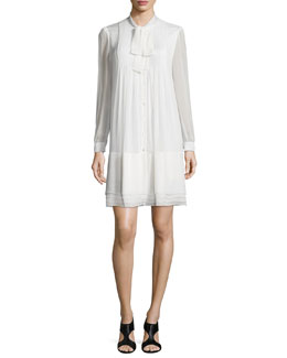 Waverly Silk Button-Front Shift Dress, Ivory