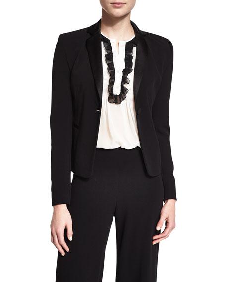 Jennie Single-Button Crepe Blazer, Black