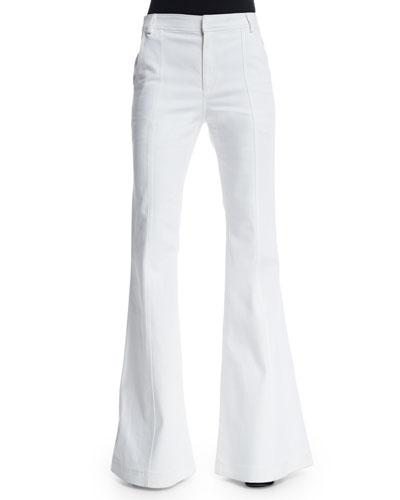 High-Waist Flare Jeans, White