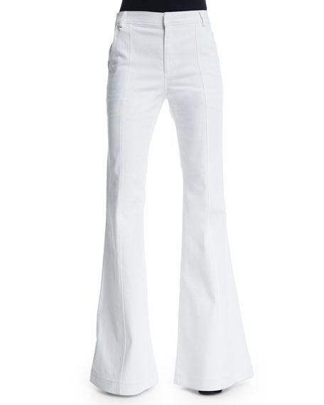 High-Waist Flare Jeans, White
