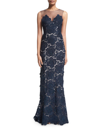 Sleeveless Floral-Lace Column Gown