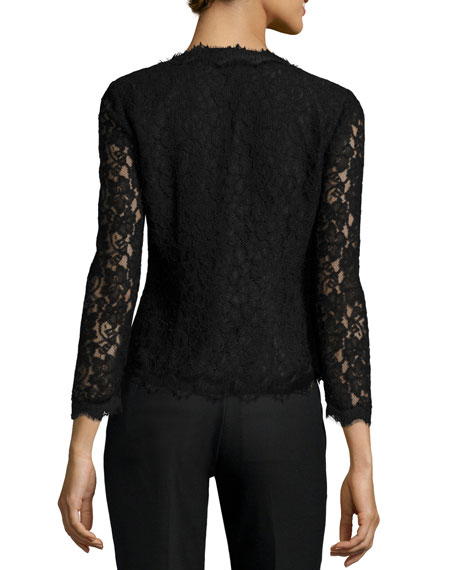 Diane von Furstenberg Bria Scalloped-Lace Cardigan, Black
