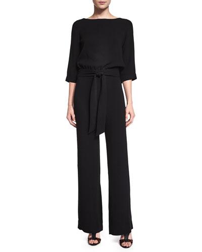 Gwynne 3/4-Sleeve Crepe Jumpsuit, Black