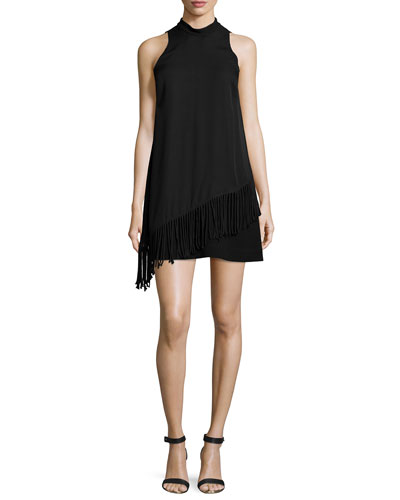 Annalisa Fringe-Trimmed Dress, Black