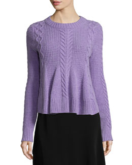 Swing Long-Sleeve Pullover Sweater, Grape