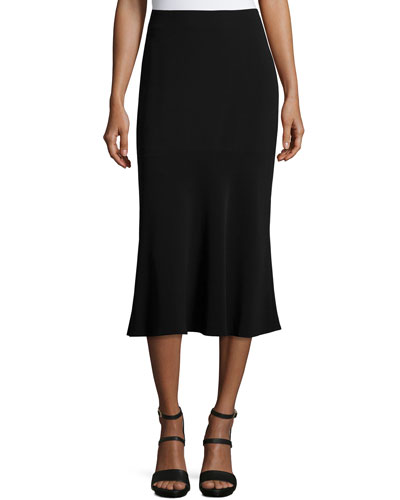 Vita Flounce-Hem Midi Skirt, Black