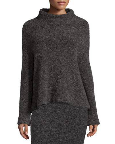 Kirk Funnel-Neck Sweater, Gray