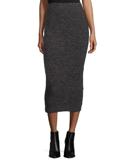 Eliza Fitted Midi Skirt, Charcoal