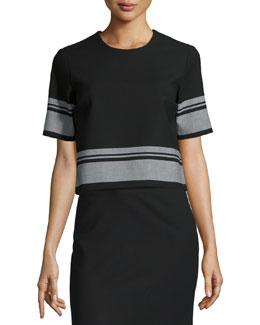 Gwen Short-Sleeve Striped Top, Black