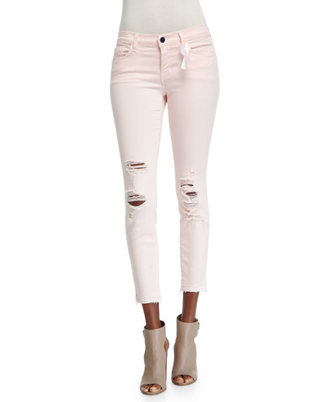 Low-Rise Distressed Cropped Jeans, Pink Ribbon