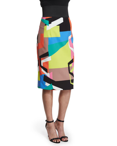 Graphic-Print Midi Pencil Skirt
