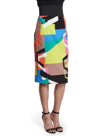 Graphic-Print Midi Pencil Skirt