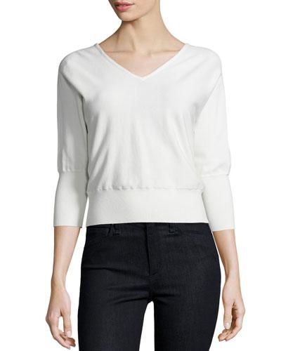 3/4-Sleeve V-Neck Pullover