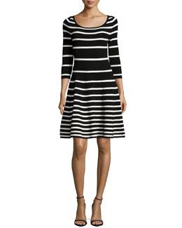 3/4-Sleeve Degrade Striped Dress