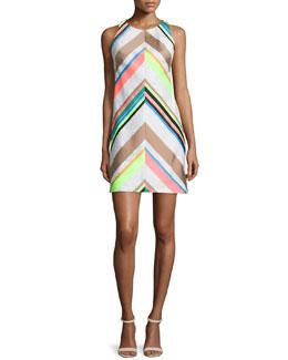 Fluo Striped A-line Dress