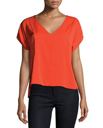 Short-Sleeve V-Neck Stretch Silk Blouse