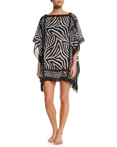 Overland Animal-Print Georgette Coverup Tunic