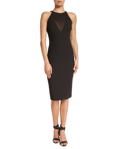 Karina Sleeveless Fitted Dress, Black