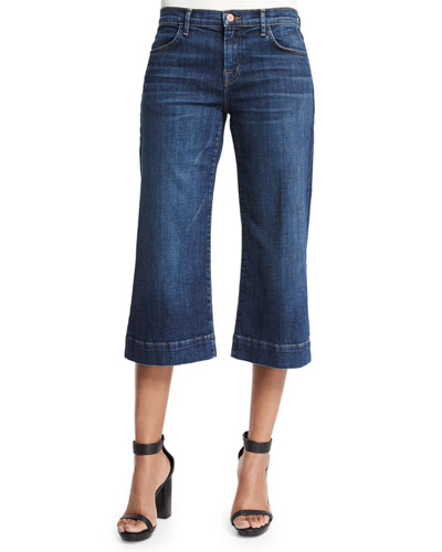 Liza Mid-Rise Cropped Culottes, Blue