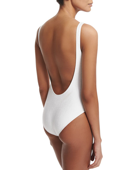 Rafia Nageur Classic One-Piece Swimsuit, White