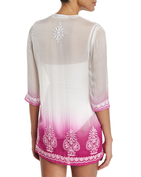 Embroidered-Front Ombre Short Tunic Coverup