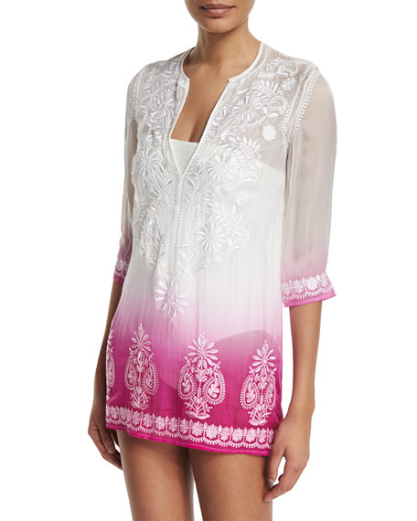Marie France Van Damme Embroidered-Front Ombre Short Tunic