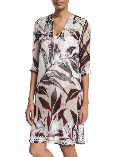 Embroidered-Front Printed Mid-Length Tunic Coverup