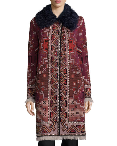 Tapestry Coat w/ Fur Collar