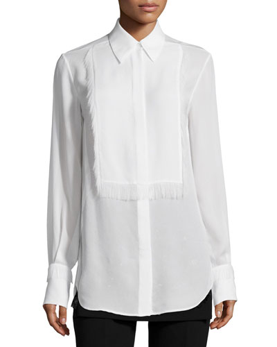 Silk Tuxedo Shirt with Eyelash Fringe, White
