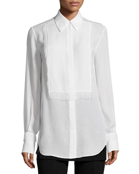 Silk Tuxedo Shirt with Eyelash Fringe, White