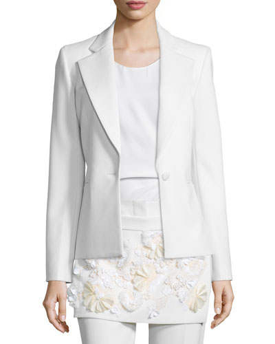 One-Button Welt-Pocket Blazer, White