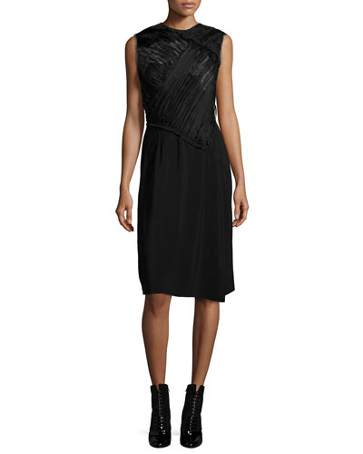 Gathered Lace-Bodice Dress, Black