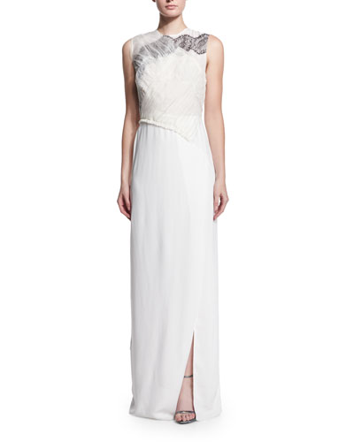 Gathered Lace Bodice Gown, White