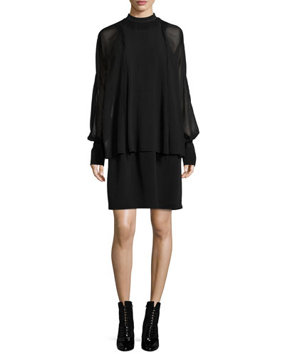 Silk Dolman-Sleeve Layered Dress, Black