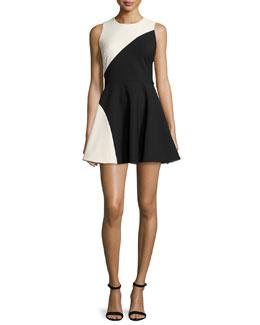 Randall Two-Tone Fit-&-Flare Dress, Black/Vanilla