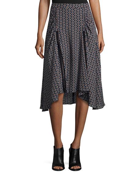 Aida Floral-Print A-Line Skirt