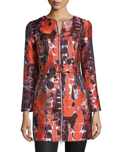 Topiary Jacquard Zip-Front Jacket