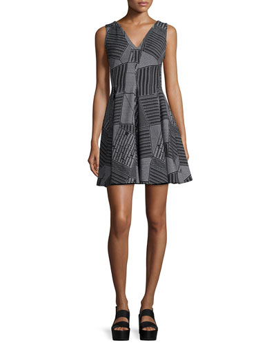 Parking Lot Jacquard Fit-and-Flare Dress