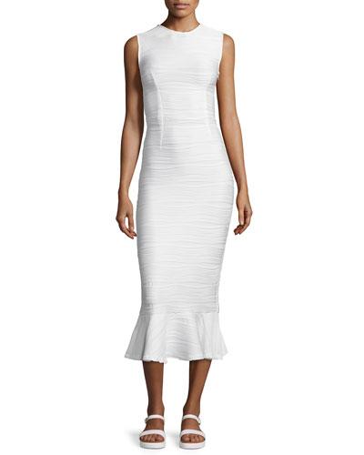 Lotus Wavy Stripe Maxi Dress, White