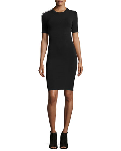 Cutout-Sleeve Fitted Dress, Black Multi