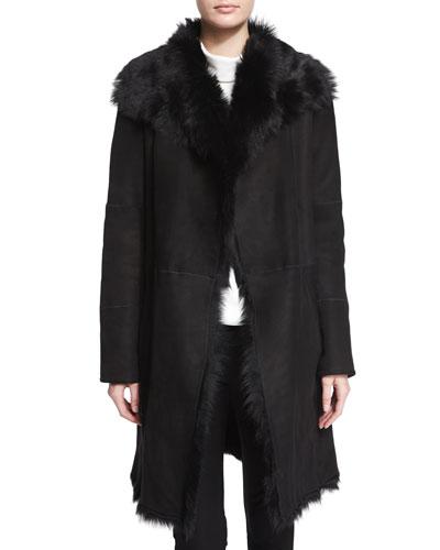 Anais Suede Coat with Fur Trim