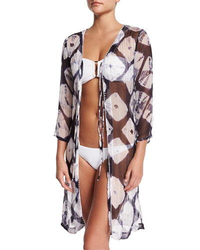 Midnight Waves Printed Silk Coverup Tunic