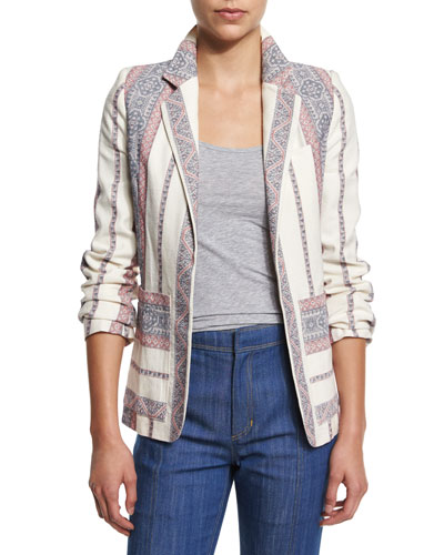 Striped Open-Front Jacket, Ivory/Multicolor